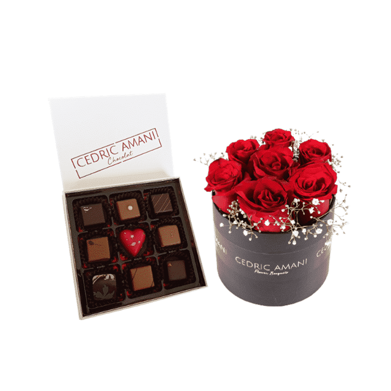 Red Roses Box with Chocolate