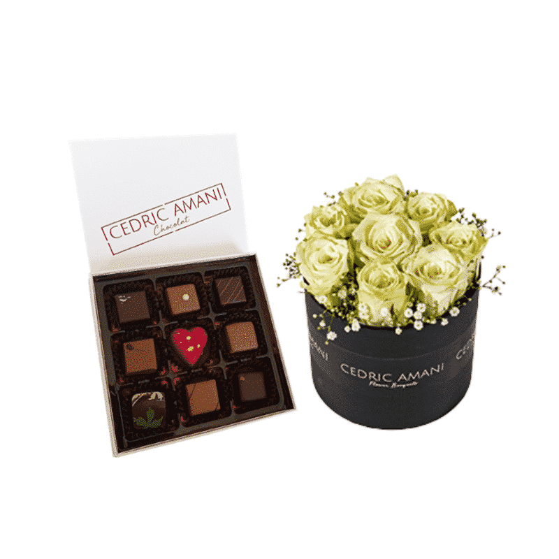 Pink Roses Box with Chocolate