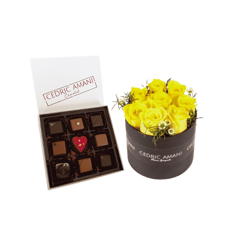 Yellow Roses Box with Chocolate